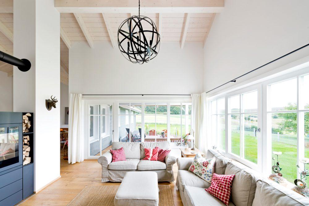 Holzhaus von innen Wohnzimmer