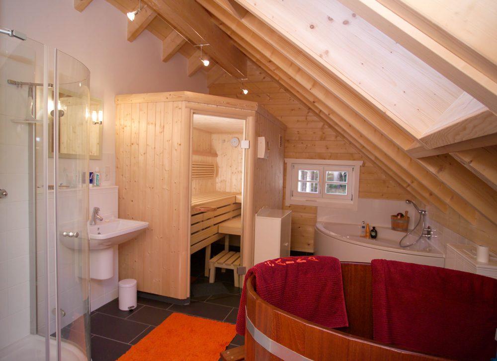 Badezimmer mit Innensauna und Tauchbecken